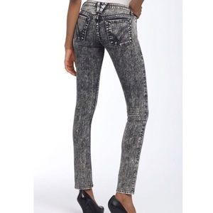 William Rast Black/ white acid wash skinny jeans
